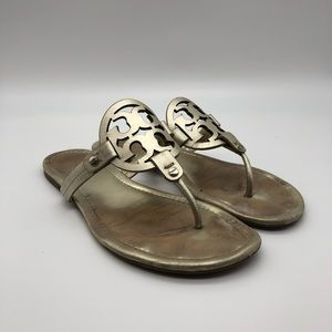 Tory Burch Sz 10.5 Gold Leather 'Miller' Thong